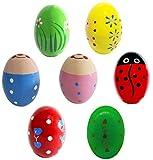 Kunyida 7Pcs Wooden Percussion Musical Egg Maracas Egg Shakers (Toy)