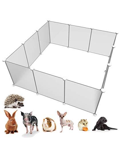 EUR POINT Clôture en Plastique De Parc pour Petit Animal Cage Portable pour Bunny Cochon d'Inde Petit Chiot | Blanc Transparent 12 Panneaux