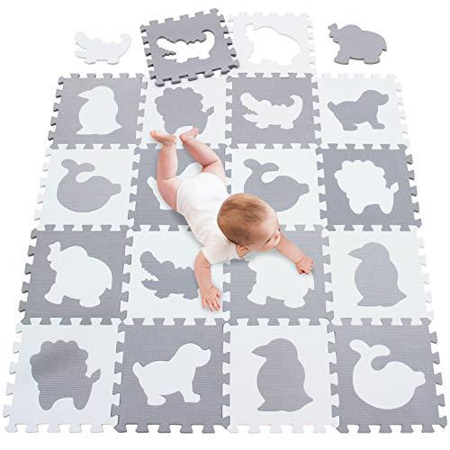 meiqicool Alfombra puzle para Niños Bebe Infantil, esteras de 30x30 cm, 18 Piezas Animal Espuma EVA Blanco Gris 51