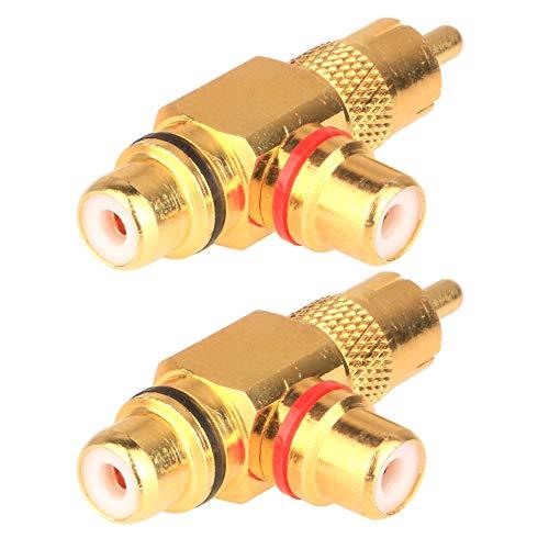 Gebildet 2 Pcs Divisor RCA de ángulo Recto de 90 Grados, Conector Adaptador de Divisor AV de 1 RCA Macho a 2 RCA Hembra, Chapado en Oro (1 a 2 Vías)