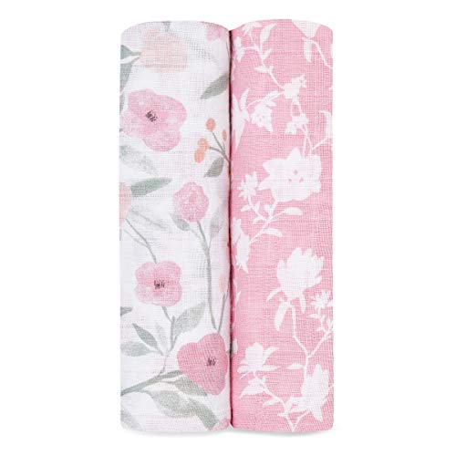 aden + anais 100% cotton Muslin Swaddle & Receiving Blankets for Baby Girls...