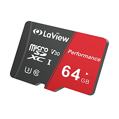 LaView 64GB Micro SD Card, Micro SDXC UHS-I Memory Card – 95MB/s,633X,U3,C10, Full HD Video V30, A1, FAT32, High Speed Flash TF Card P500 for Phone/Tablet/PC/Computer with Adapter