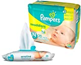 Pampers Swaddlers Disposable Newborn Diapers (20 Count) Bundle with 36 Pampers Sensitive Care Baby Wipes
