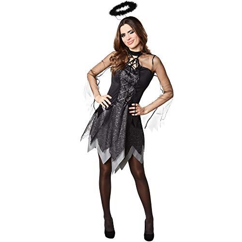 dressforfun 900507 Damenkostüm Sexy Engel Vamp, Dreilagiges Kleid in Schwarz und Grau (XL| Nr. 302455)