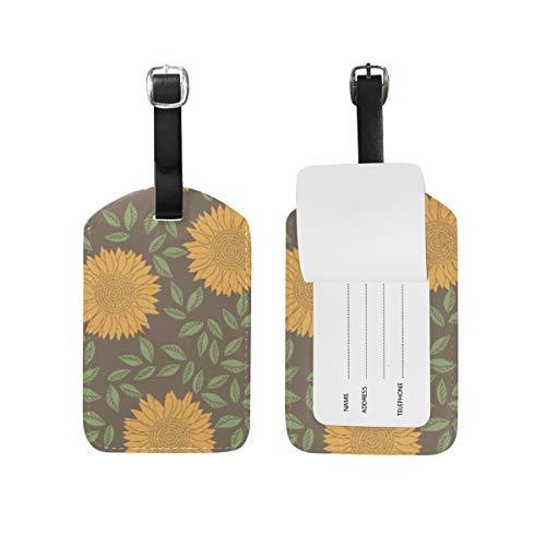 Bagagehanger voor koffer, bloemen, madeliefjes, leer, reistas, adresetiketten, 1 stuk