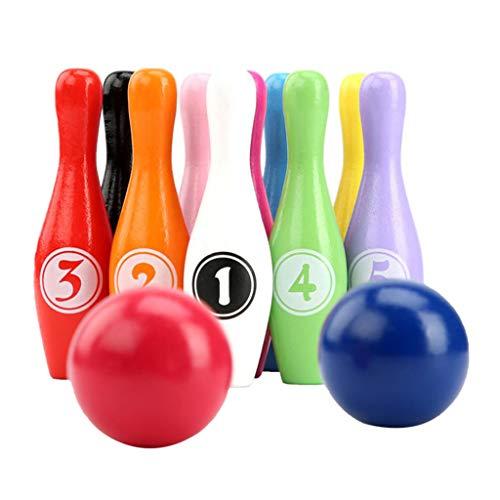 WT-DDJJK Bolos, 12pcs / Set Juego de Bolos de Color de Madera Juego de Bolos de 10 Pines 2 Bolas para niños de Interior