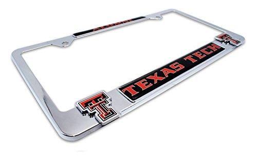 Premium All Metal NCAA Alumni License Plate Frame w/ dual 3D logos (Texas Tech)