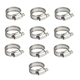 Topnisus 10pcs Set Adjustable Hose Clips Pipe Clamps Kits Rust Free (16-25mm)