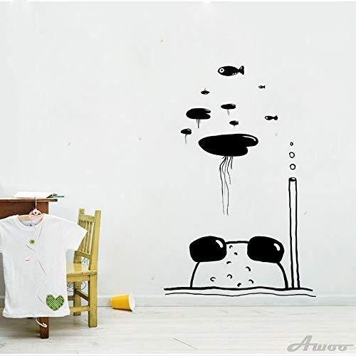 Lustige Froschquallen Wandaufkleber wasserdichte Wandkunst Textur Tapete Poster schwarz Kinderzimmer Hauptdekoration |Tapete |Hauptdekoration43x55cm