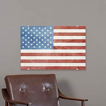 CGSignLab American Flag Vintage Premium Brushed Aluminum Sign 36x24
