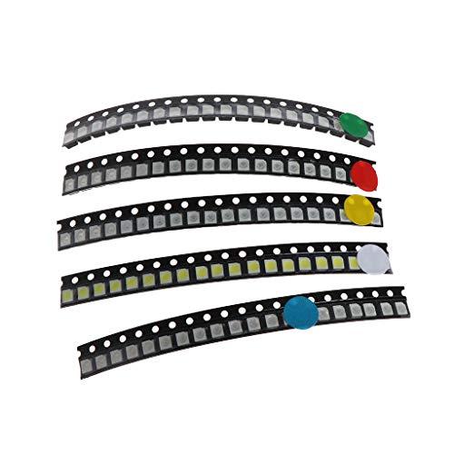 MIKI-Z 100 Piezas 5 Colores SMD 3528 1210 LED Luz Rojo Verde Azul Amarillo Blanco Kit de asignación