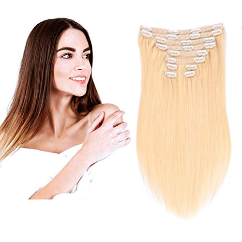 14-22 Pouce 10 pièces Clip en 22 Clips 120g Extensions de Cheveux Humains Naturels Double Epaisseur (Double Weft) - 100% Remy Hair(60#, Blonde Platine, 18 Pouce)