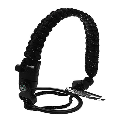 iiniim Water Bottle Paracord Handle for Wide Mouth Water Bottle Flask with Safety Ring Carabiner Strap Cord for Climbing Cycling Pure Black & White Dot OneSize