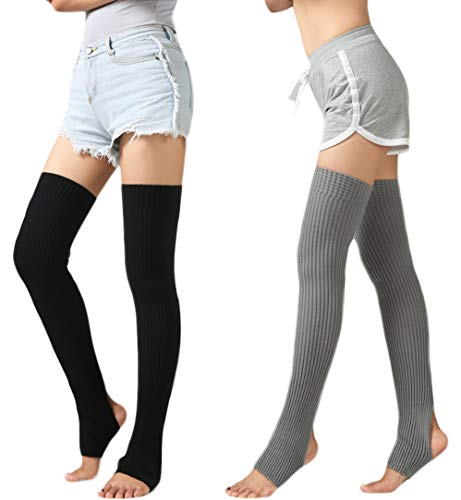 2Pack Unisex Adult Over Knee Thermal Leg Warmer Protector Socks For Dancing Yoga (2Pairs-(Black+Grey))