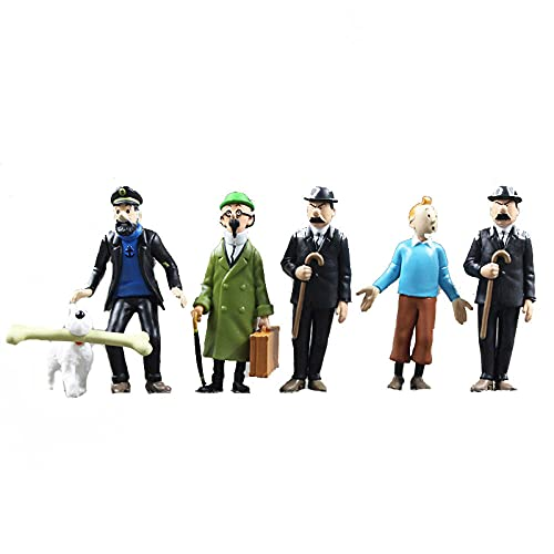 6pcs/Lot The Adventures of Tintin Figure Toys Milou Calculus Herge Anime Model Dolls about 4-9cm