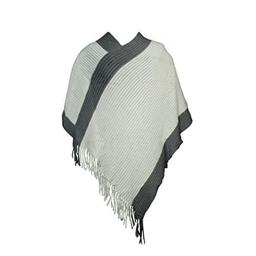 MANUMAR Ponchos für Damen   Strick-Cape in weiß grau   Überwurf Cape   Umhang   Wendeponcho Perfektes Herbst/Frühling/Winter Accessoire  