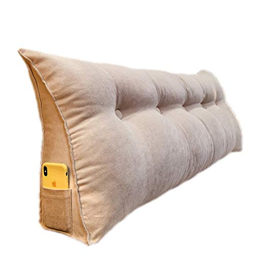 Grande Cuscino per Schienale per testiera, bay Window Long Pillow Cuscino Triangolare da Lettura Schienale per Divano Letto con Rivestimento Lavabile (Color : Light Beige, Size : 180cm)