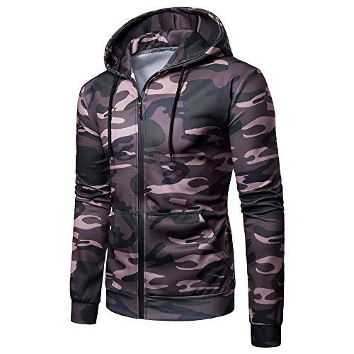 NLZQ Sweat Capuche pour Homme Chemise d'entraînement ajustée 2021 Automne et Hiver Nouveau Sweatshirt Mode Casual Sweatshirt Fermeture éclair Style Tendance Haut Motif Camouflage 3XL