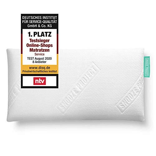 Snooze Project Orthopädisches HWS Nacken-Stütz-Kissen 40 x 80 x 12 cm - Visco-Gel-Schaum Memory-Foam Kopfkissen Weich - Bezug Weiß waschbar 60 Grad - Allergiker Nacken-Kissen