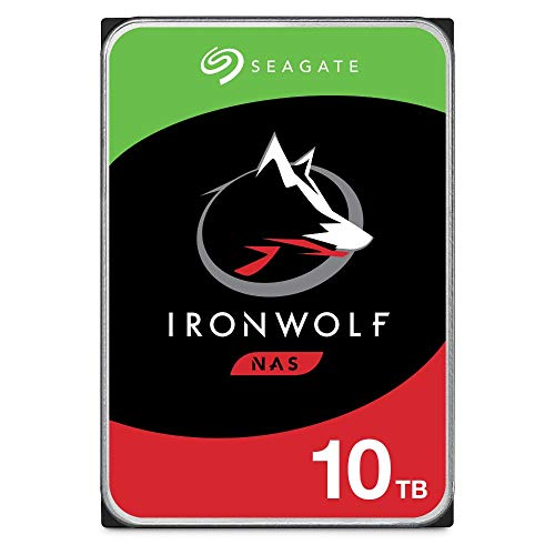 Seagate IronWolf 10 TB HDD, NAS interne Festplatte, 8,9 cm (3,5 Zoll), 7200 U/Min, CMR, 256 MB Cache, SATA 6 GB/s, silber, Modellnr.: ST10000VN0008, FFP