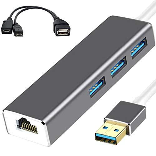 OocciShopp Adaptador Ethernet LAN, 3 HUB USB Adaptador Ethernet LAN + Cable USB OTG para Fire Stick 2ND Gen O Fire TV3