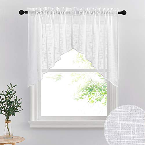 RYB HOME Window Topper Curtains - Short Kitchen Curtains and Valances Set, Privacy White Linen Sheer Swag Curtains, Semi Sheer Bathroom Curtains Tiers for Small Window, Wide 36 x Long 36 inch, 1 Pair