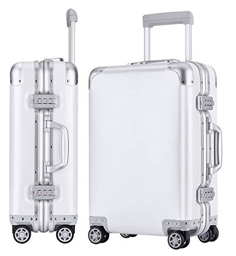 Luggage All Aluminum Alloy Frame & Body 20in Carry On Spinner Suitcase with TSA Approved Locks - Milk-white