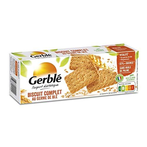 Gerblé Vitalité, Biscuits Complets au Germe de Blé, Allégés en sucres, Sans huile de palme, 1 boîte de 25 biscuits, 210g