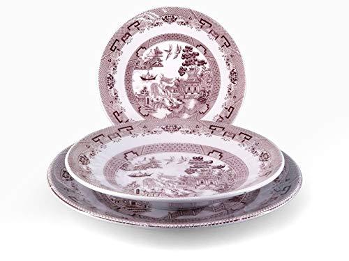 H&H 825255 English Chintz-Vajilla de 18 Piezas, de cerámica, decoración Rosa, Piedra