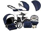 Poussette Landau 3 en1 2en1 Isofix set complet avec siège auto Biancino by ChillyKids Navy Blue 3en1 avec siège bébé