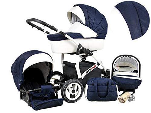 Kinderwagen 3 in1 2in1 Isofix Komplettset mit Autositz alles in einem Biancino by ChillyKids Navy Blue 3in1 mit Babyschale