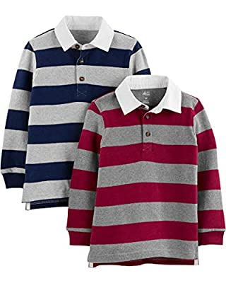 Simple Joys by Carter's Boys' Toddler 2-Pack Long-Sleeve Rugby Shirts, Navy Stripe/burgundy Stripe, 3T by Carter's Simple Joys - Private Label