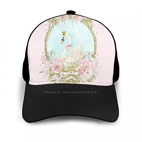 OEWFM Gorra de Beisbol Shabby White Romántico con Flores Rosadas Gorra Plana Sombrero Curvo Gorra con Cierre a presión Malla Regalo