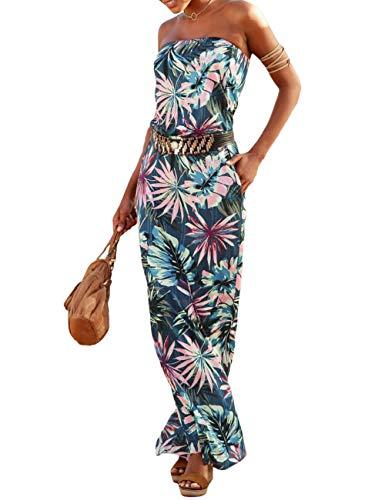 SEBOWEL Damen Maxikleid Sommer Boho Kleider Lang Bandeau Ärmelloses Sommerkleid Strandkleider Elegante Freizeitkleid CocktailKleider Abendkleid (M, Grün)