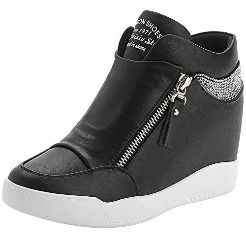 rismart Damen Keilabsatz Plateau Freizeitschuhe Mode Sneaker SN15018 (Schwarz,38 EU)