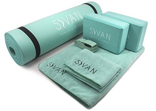 "Sivan 6-Piece Yoga Set- Includes 1/2"" Ultra Thick NBR Exercise Mat, 2 Yoga Blocks, 1 Yoga Mat Towel, 1 Yoga Hand Towel and a Yoga Strap (Teal)"