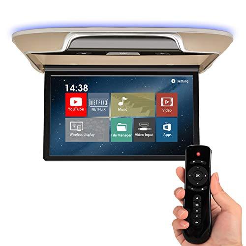 DDAUTO Android Overhead Flip Down Monitors 13 inch Car Roof Mount MP5 Player IPS Screen, FM, HDMI in, AV in, Bluetooth, USB, for Car Caravan SUV MPV Truck (Smart 4K)- Beige