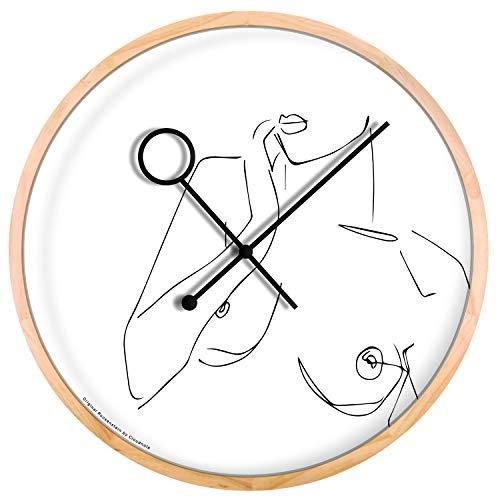 Cloudnola Boobie klok – Wandecoratie – Lijn kunst – Moderne Designer wandklok- Hout, 42 cm diameter, geruisloos uurwerk, werkt op batterijen