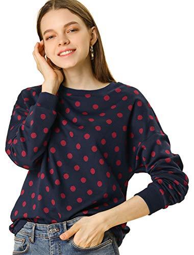 Allegra K Women's Knitted Pullover Sweatshirt Winter Fall Long Sleeve Polka Dots Sweater Medium Dark Blue