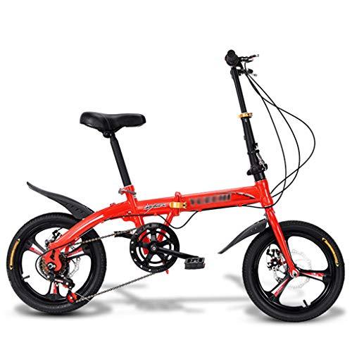 YYSD Leichtes Faltrad 16 Zoll 7 Gang Stoßdämpfer Fahrrad für Erwachsene Männer und Frauen - Maximale Belastung: 150 Kg