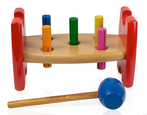 edu fun 21005 - Banco da lavoro con martello, banca in legno, gioco a martello, giocattolo per la motorizzazione per bambini a partire dai 18 mesi