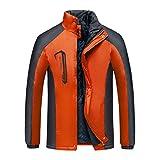 XFentech Chaqueta Impermeable Unisexo - Pesca Caza Camping Senderismo Transpirable Suave Escalada Chaqueta Exterior, Naranja, EU L=Tag XL