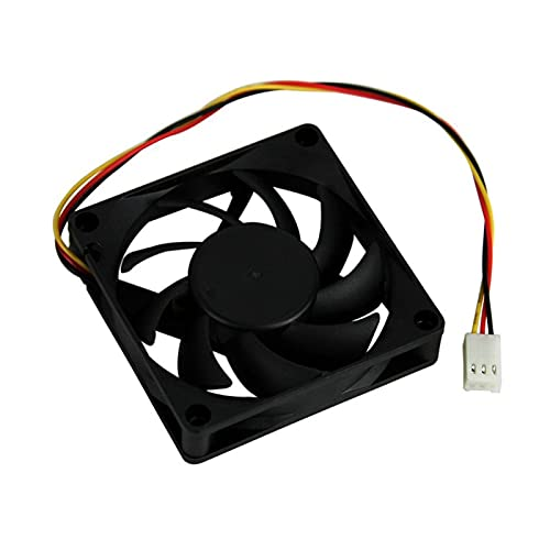TPCYAN DC 12V 3-Pin Connector - Air Penetrator Computer Case Cooling Fan 70mm, High Airflow, Black (Size : 12V)