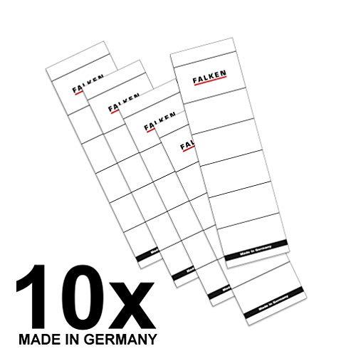 Original Falken 10er Pack Ordner-Rückenschild. Made in Germany. Etiketten 54 x 190 mm zum Einstecken für 8 cm breite Ordner weiß