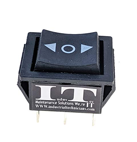 IndusTec DPDT 20 AMP-6 Pin (on) / Off / (on) Momentary Automatic Reset Rocker Switch Polarity Double Pole Double Throw 12V DC Motor Control Dpdt Momentary Switch Type