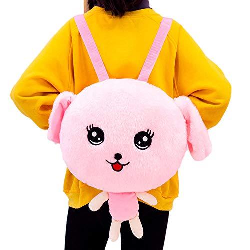 SILENCE 35 * 45Cm Niños S Cartoon Cute Plush Rabbit Mochila Toy Moving Ear Plush Backpack Niños S Regalo de cumpleaños-Rosa