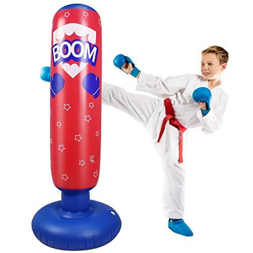 Ponacat Aufblasbarer Boxsack für Kinder Freistehender Ninja-Boxsack für Sofortiges Zurückspringen zum Üben von Karate Taekwondo MMA Fitness zum Üben von Stressabbau
