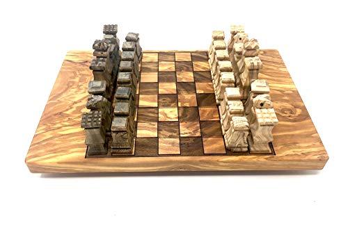 bagusto Schachbrett 30x20cm aus Olivenholz mit Holz Figuren handgefertigt auf Mallorca Brettspiel Schachtisch