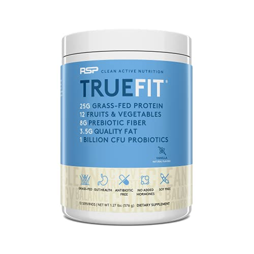 RSP TrueFit - Protein Powder Meal Replacement Shake for Weight Loss, Grass Fed Whey, Organic Fruits & Veggies, Probiotics, MCT Oil, Non-GMO, Gluten Free, No Artificial Sweeteners, 12 Serv Vanilla