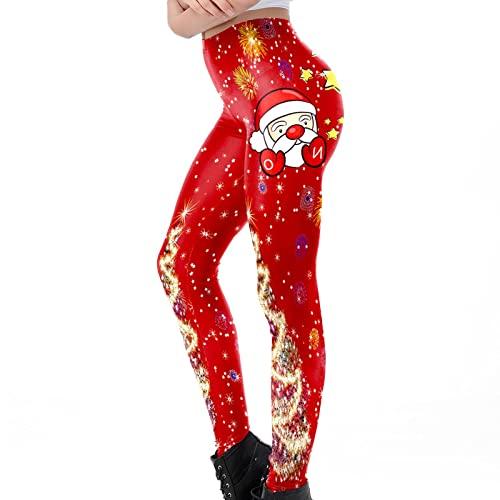 BGUK Leggings de mujer con estampado navideño, para yoga, elásticos, para invierno, con impresión navideña, deportivos, yoga, jogging, pantalones térmicos, rojo, M